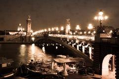 Alexandre III bro i Paris, sepia Arkivbilder