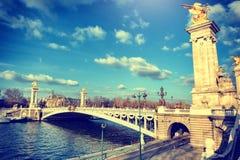 Alexandre III brug bij zonnige dag Parijs, Frankrijk Stock Foto