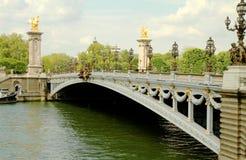 alexandre iii paris pont Royaltyfri Foto