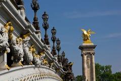 alexandre iii paris pont Royaltyfria Bilder
