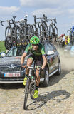 Alexandre Pichot- Paris Roubaix 2014. Carrefour de l'Arbre,France-April 13,2014:The French cyclist Alexandre Pichot from Team Europcar riding on the famous Royalty Free Stock Photo
