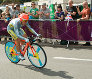 Alexandre vinokourov in the Olympic Time Trial. Olympic Road Race Champion alexandre vinokourov on the road in Surrey en route to win the  London 2012 Olympic Stock Photos