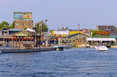 Alexandria Bay, New York Dockside shops. And restaurants in the United States side of the Thousands Islands Royalty Free Stock Photo