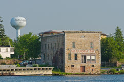 Alexandria Bay, New York Old Stone Building. And water tower in the United States side of the Thousands Islands Stock Images