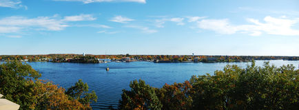 Alexandria Bay panorama. Alexandria Bay and St. Lawrence River panorama viewed from Boldt Castle, Thousand Islands Region, New York State, USA Royalty Free Stock Images