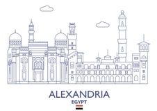 Alexandria City Skyline Egypten stock illustrationer