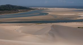 The Alexandria coastal dune fields near Addo / Colchester on the Sunshine Coast in South Africa. Photographed on a clear summer`s day from high up on the dunes stock images