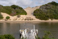 Alexandria coastal dune fields near Addo, South Africa, photographed from the other side of the Sundays River. The Alexandria coastal dune fields near Addo / stock image