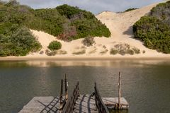 Alexandria coastal dune fields near Addo, South Africa, photographed from the other side of the Sundays River. The Alexandria coastal dune fields near Addo / stock photography
