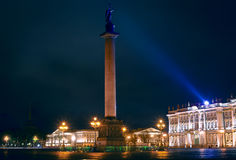 The Alexandria column on Palace Square at night. Beautiful landscape with a night type of a central square of Saint Petersburg Royalty Free Stock Photos