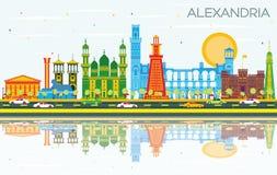 Alexandria Egypt City Skyline med färgbyggnader, blå himmel och stock illustrationer