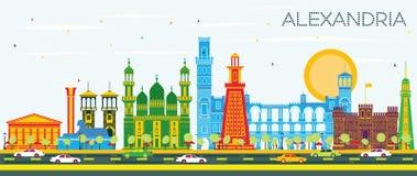 Alexandria Egypt City Skyline med färgbyggnader och blå himmel stock illustrationer