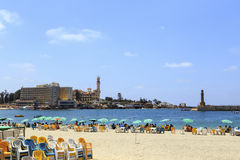 Alexandria ,Egypt - JULY 15 ,2015: Unidentified people on the beach. Stock Images
