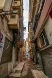 Alexandria, Egypt, a lane of an ancient Arab city contaminated with various rubbish stock photography