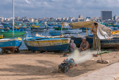 ALEXANDRIA, EGYPT - September, 30, 2008: Egyptian fishermen in A Royalty Free Stock Photo