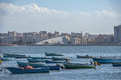 16.11.2018 Alexandria, Egypt, view from the city`s seafront to the modern national library stock image