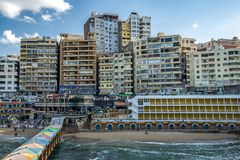 17/11/2018 Alexandria, Egypt, view of the embankment of the ancient city on the Mediterranean coast royalty free stock image