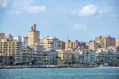 17/11/2018 Alexandria, Egypt, view of the embankment of the ancient city on the Mediterranean coast royalty free stock images