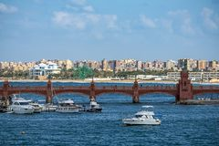17/11/2018 Alexandria, Egypt, view of the embankment of the ancient city on the Mediterranean coast stock photography