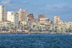 17/11/2018 Alexandria, Egypt, view of the embankment of the ancient city on the Mediterranean coast stock image