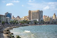 17/11/2018 Alexandria, Egypt, view of the embankment of the ancient city on the Mediterranean coast stock images
