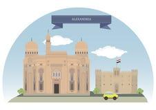 Alexandria Egypten stock illustrationer