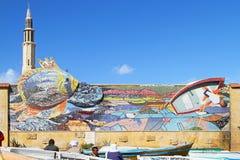 Alexandria mosaikvägg Arkivbild