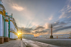 The Alexandrian Pillar and the Palace Square in St. Petersburg i Stock Photos