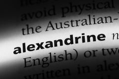Alexandrine. Word in a dictionary.  concept Royalty Free Stock Photo
