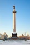 Alexandrinekolonn. St Petersburg. Ryssland Royaltyfri Fotografi