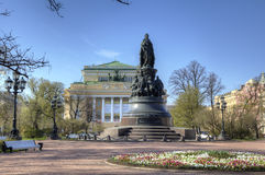 Alexandrinsky Theatre and Catherine II monument Royalty Free Stock Image