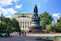 Alexandrinsky Theatre and Monument to Empress Alexandra Feodorovna in the Saint Petersburg Stock Image