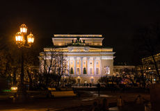 The Alexandrinsky Theatre or at night, Saint Petersburg Stock Photos
