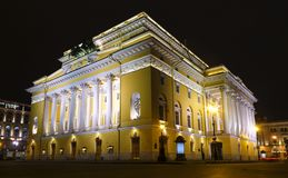 Alexandrinsky theatre, Ostrovsky square at night in Saint Petersburg, Russia. Illuminated with lights Alexandrinsky theatre, Ostrovsky square at night in Saint royalty free stock image