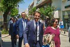 ALEXANDROUPOLI, GREECE-MAY 14, 2018: Greek Leader of New Democracy party Kyriakos Mitsotakis.Selebration Of. ALEXANDROUPOLI, GREECE-MAY 14, 2018: Greek Leader of stock images