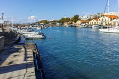 Anoramic view of Port and town of Alexandroupoli, Greece royalty free stock image
