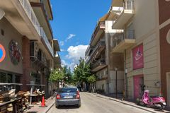 Typical street in town of Alexandroupoli, East Macedonia and Thrace, Greece Stock Images
