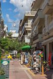 Typical street in town of Alexandroupoli, East Macedonia and Thrace, Greece Royalty Free Stock Images