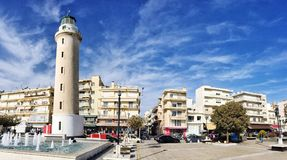 Lighthouse that is the landmark of Alexandroupolis city in Greece. Alexandroupolis, Greece - December 13, 2017: Lighthouse that is the landmark of Stock Image