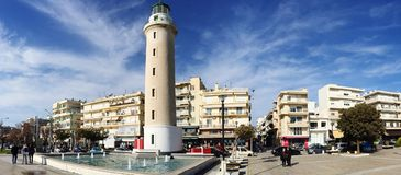 Lighthouse that is the landmark of Alexandroupolis city in Greece. Alexandroupolis, Greece - December 13, 2017: Lighthouse that is the landmark of Stock Images