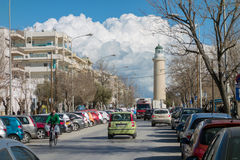 Alexandroupolis, Greece. FEB 3, 2015: Tourists in center of city. Tourism is a decisive sector of hope for Greek economy - In the year Greece receives about Stock Photo