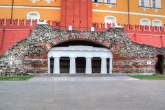 Alexandrovsky garden. The grotto Ruins. Alexandrovsky garden. Beneath the Middle Arsenal tower of the Kremlin was built the grotto 'Ruins' (1841, architect Bove Stock Photography