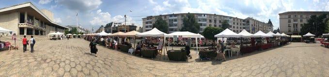 Alexandru Ioan Cuza街道全景,克拉约瓦,罗马尼亚 免版税库存图片