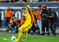 Alexandru Maxim corner kick in Romania-Hungary Stock Images