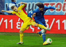 Alexandru Maxim and Georgios Samaras during FIFA World Cup Playoff Game Royalty Free Stock Photography