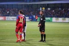 Alexandru Tudor referee. Alexandru Dan Tudor referee during Viitorul vs Steaua match Stock Photography