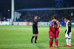 Alexandru Tudor referee. Alexandru Dan Tudor referee during Viitorul vs Steaua match Royalty Free Stock Photos