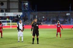 Alexandru Tudor referee and Ianis Hagi Stock Photo