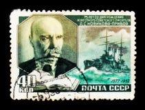 Alexey诺维科夫的画象Priboi 1877-1944是俄国作家,大约1952年 免版税库存图片