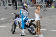Alexey Kolesnikov and announcer stock photo